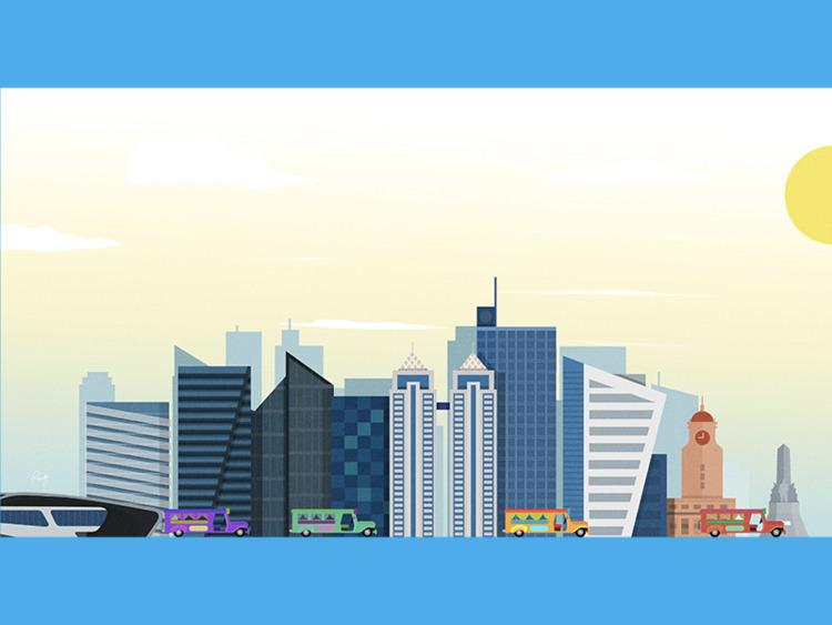 Manila - skyline illustration p - designmnl | ello