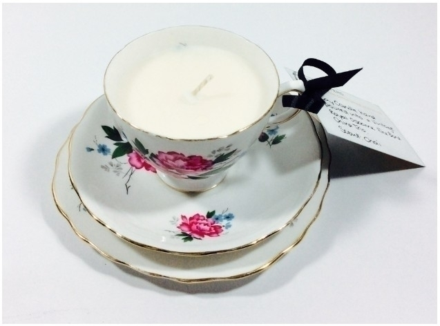 vintage tea cup soy candle - ateliercrafers   ello