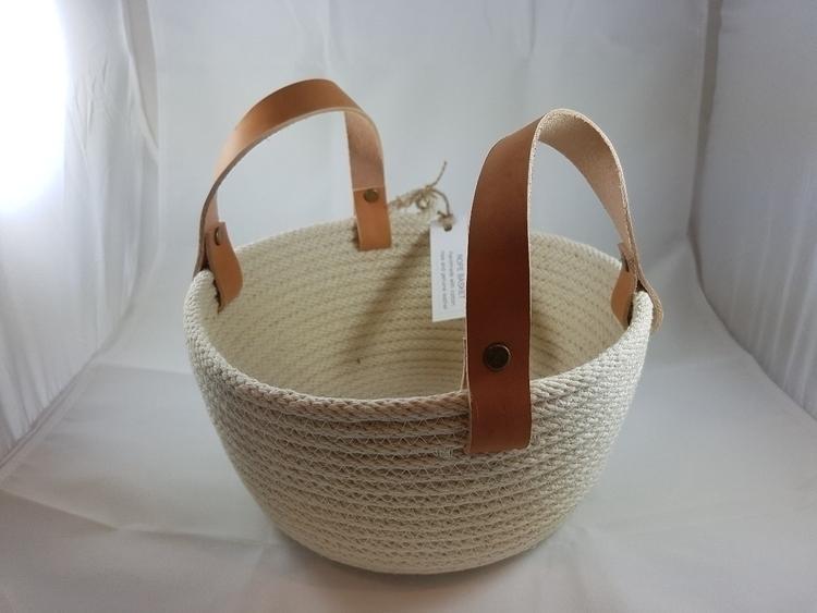 cotton rope leather basket - ateliercrafers | ello