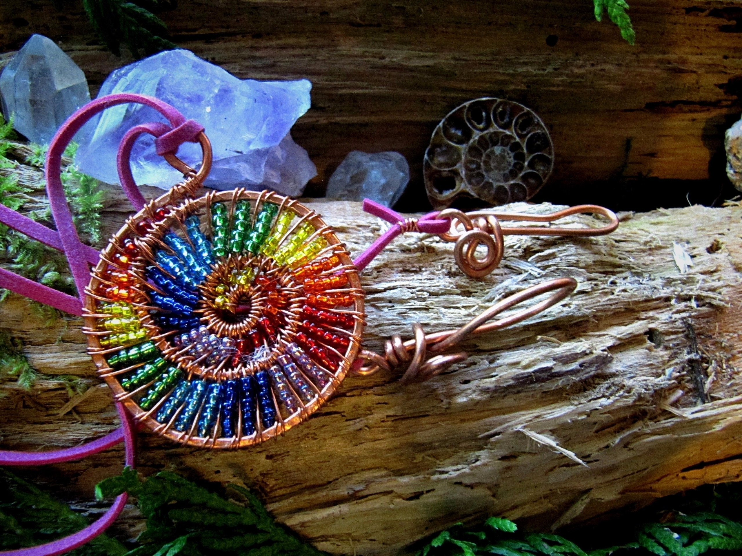 *~ Rainbow Spiral Pendant ~* et - wildmoonchilddesigns   ello