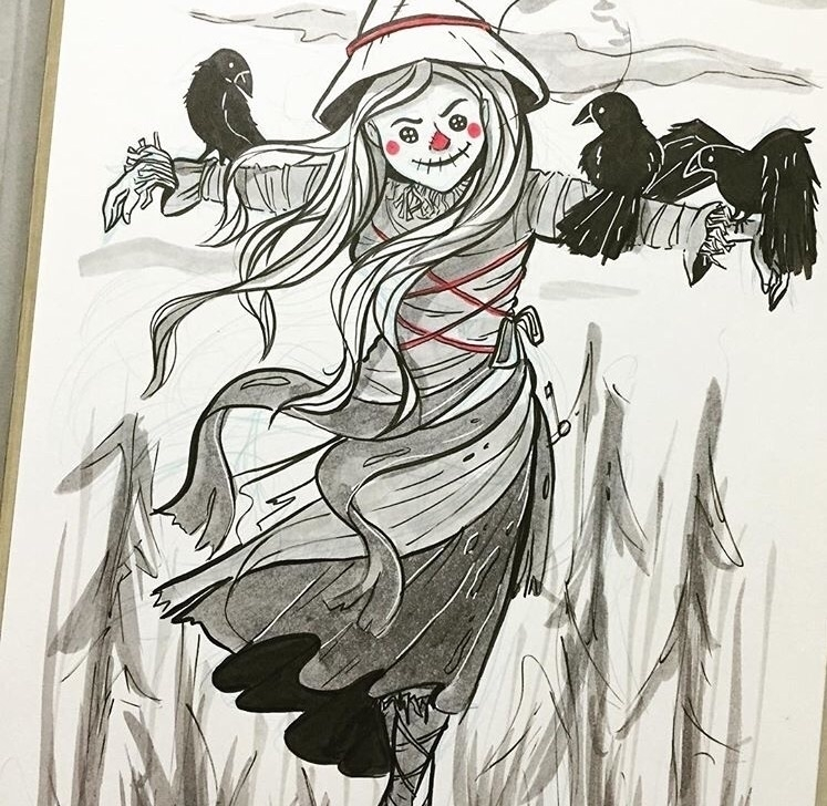 scarecrow years - inktober, ink - mustashleigh | ello
