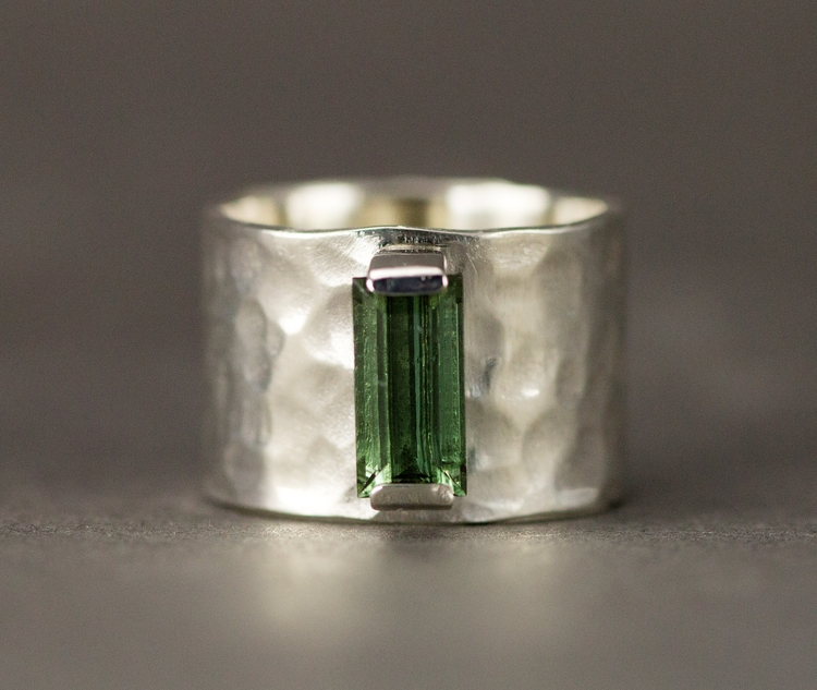 Rustic wide hammered band green - allwirdupjd | ello