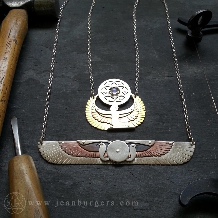 Winged Disk Isis holding Seed L - jeanburgersjewellery | ello