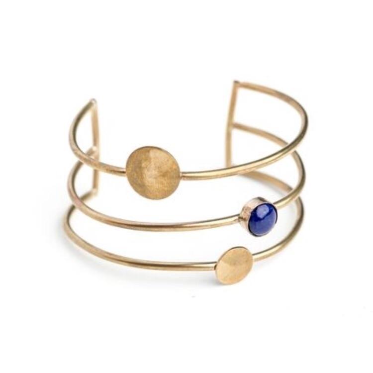 Orbit Cuff brass Lapis stacking - geoflorajewelry | ello
