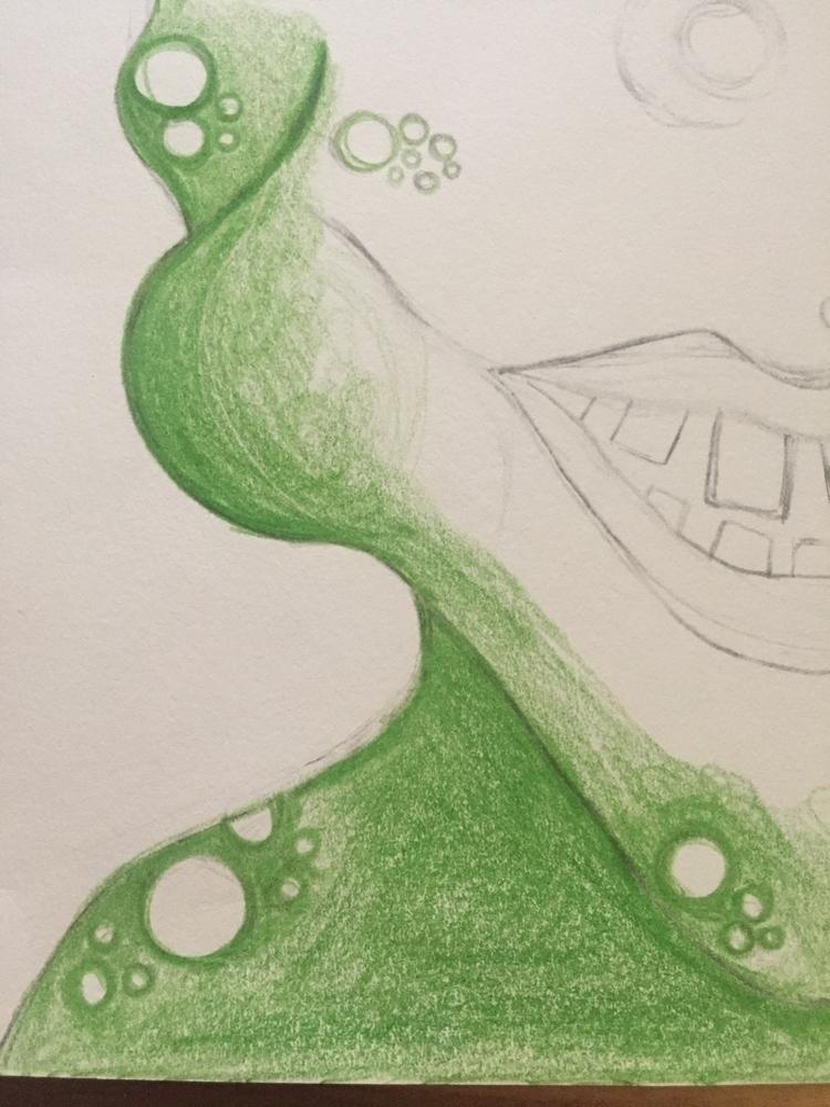 Working eyed green monster, lov - artbykaylabraden | ello