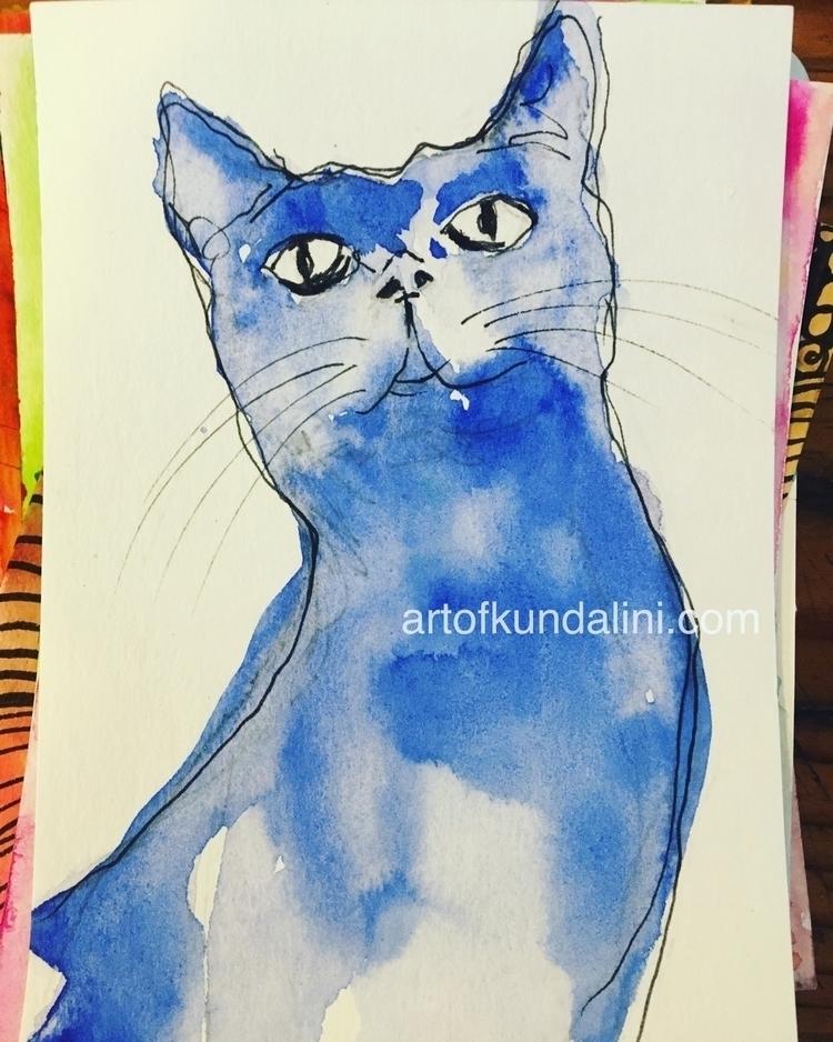 Blue pussy cat :cat - art, watercolour - arnabaartz | ello