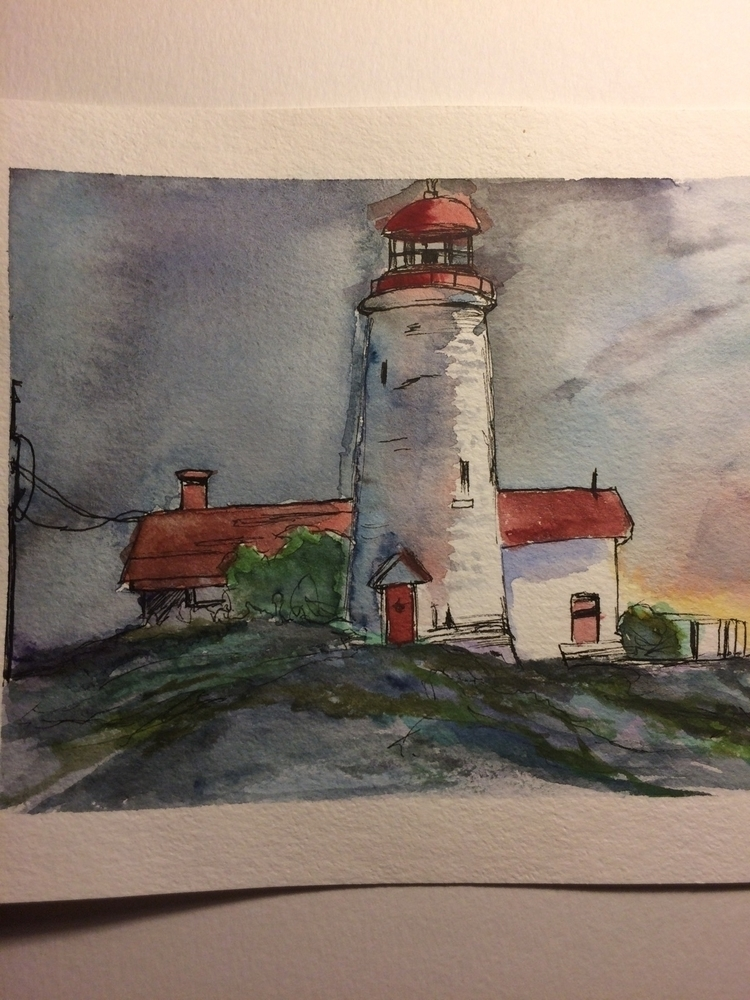 watercolor, lighthouse, housebythesea - brought2uby | ello