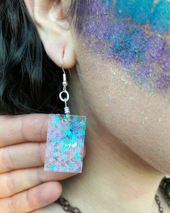 Glitter Resin Earrings Mermaid  - bellefaeriejewelry | ello