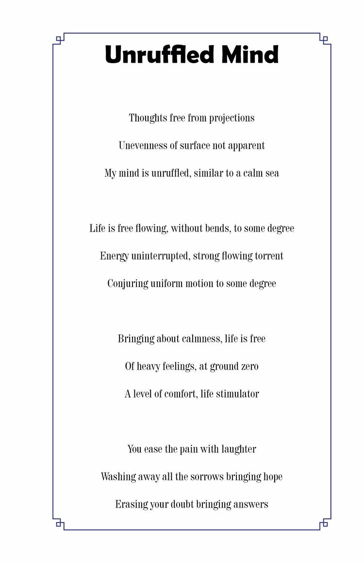 Unruffled Mind Poems Ballad Min - jahcreate | ello