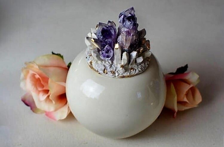 Amethyst Lid Porcelain Jar  - PotteryByRosie - potterybyrosie | ello