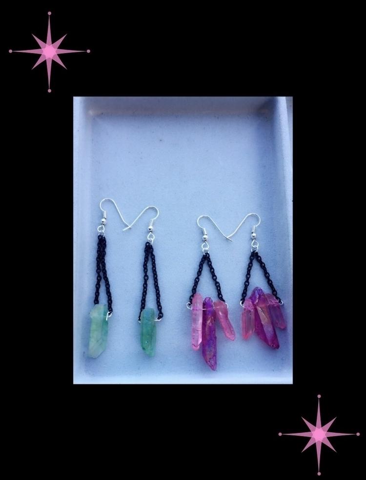 cute dyed crystal earrings!? co - bodycandybycarlie | ello