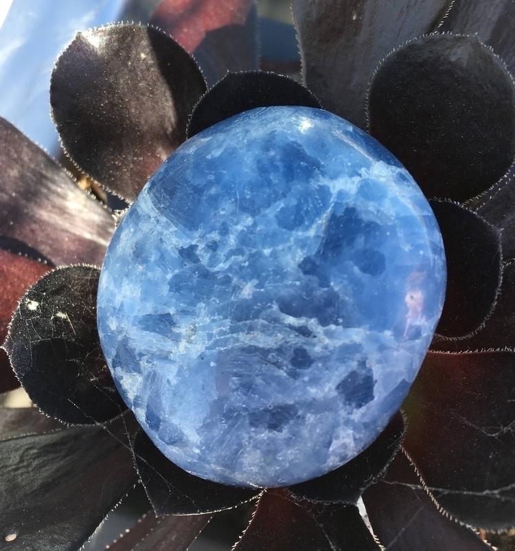 Blue Calcite palm stone purchas - sacredseacrystals   ello
