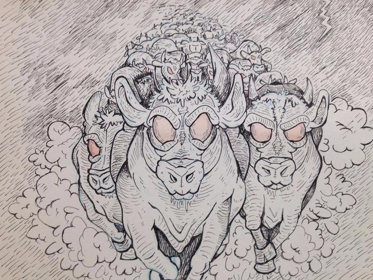 Herd - webcomic, cows, micron, inkdrawing - mikemcleod | ello