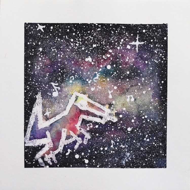 6x6 Space raptor Watercolor mix - thegalaxyofgratitude | ello