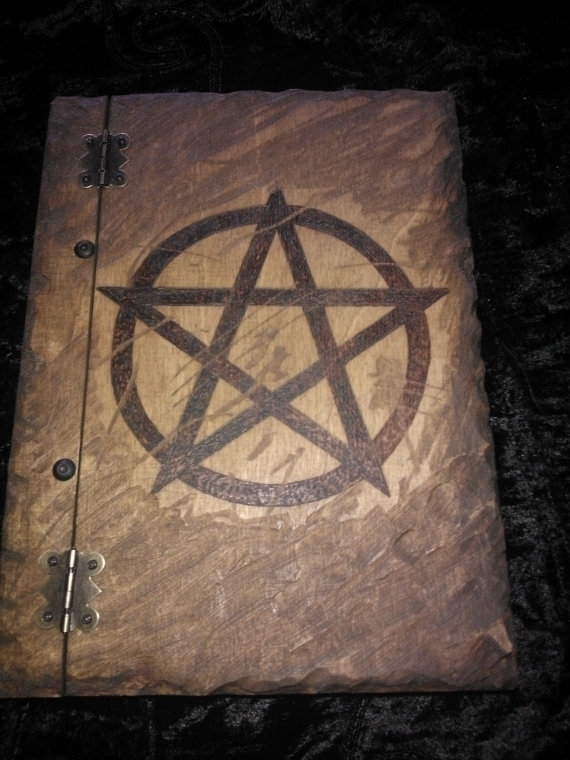Wooden book pentagram burned di - demondragonfly | ello
