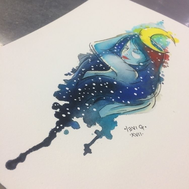 reclining hair - universe, watercolor - levigreenacres | ello