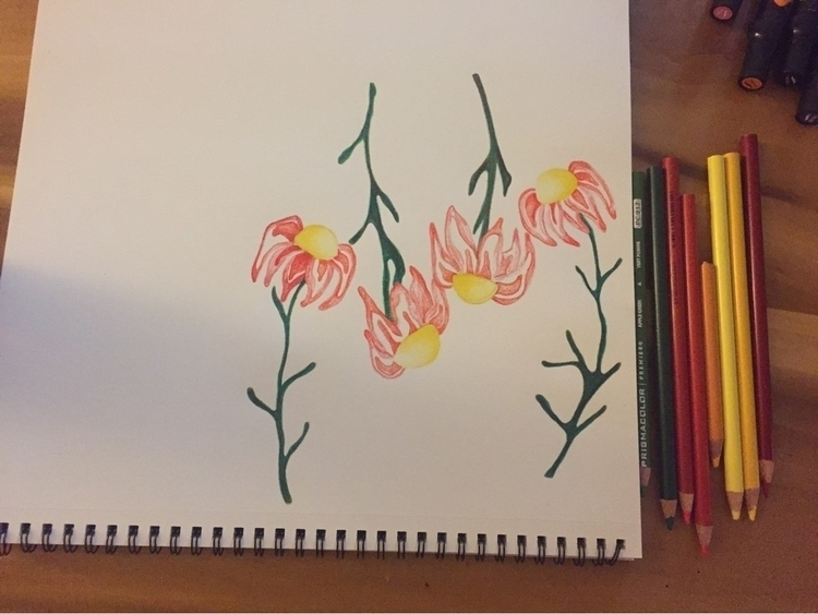 flower work progress - flowerart - artbykaylabraden | ello