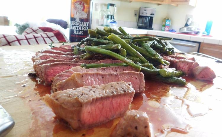 dinner, steak, beer, stoned, asparagus - weirdmike | ello