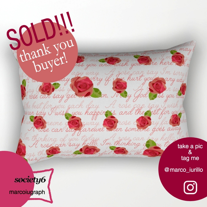 sold, roses, redroses, pillow - miideegrafiche | ello
