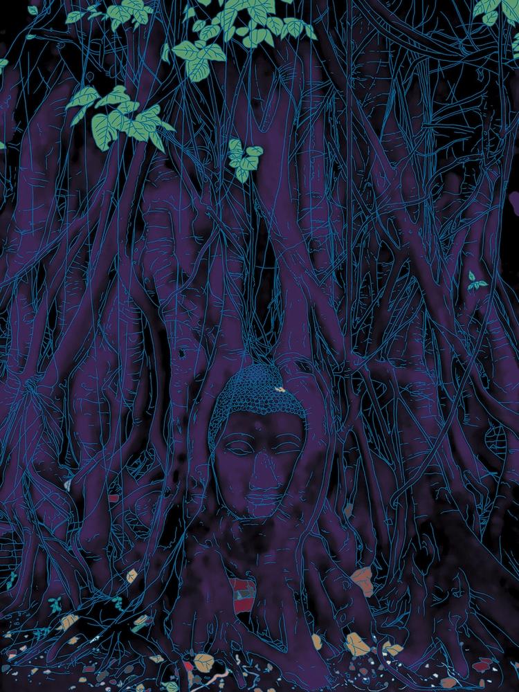 head sacred bodhi tree Ayutthay - digitalillustrationworks | ello