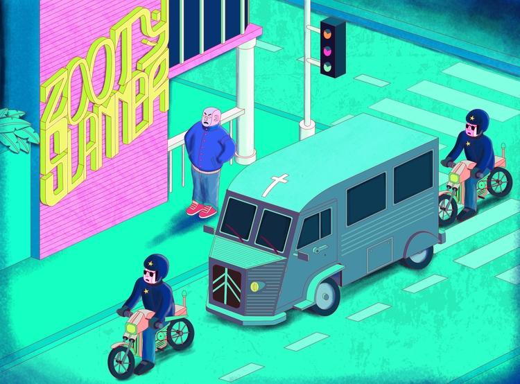 Illustration, Police, Street - tomrouleau | ello