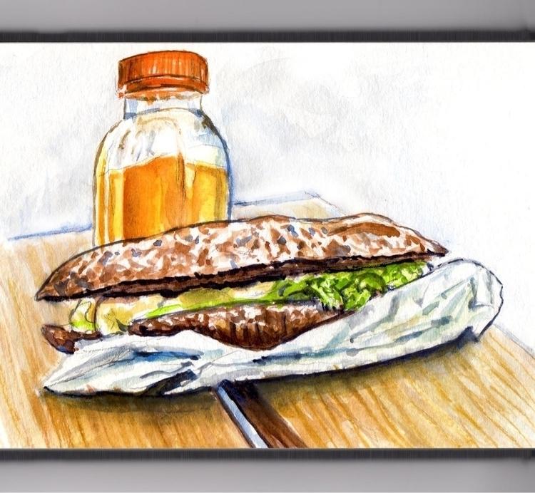 Lunch Park Bench - watercolor, watercolour - doodlewash | ello