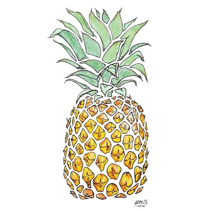 summer - pineapples, tropical, art - deeni | ello