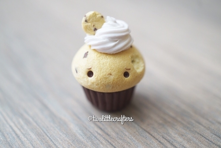 Bitten choco-chip frosted cupca - twolittlecrafters | ello