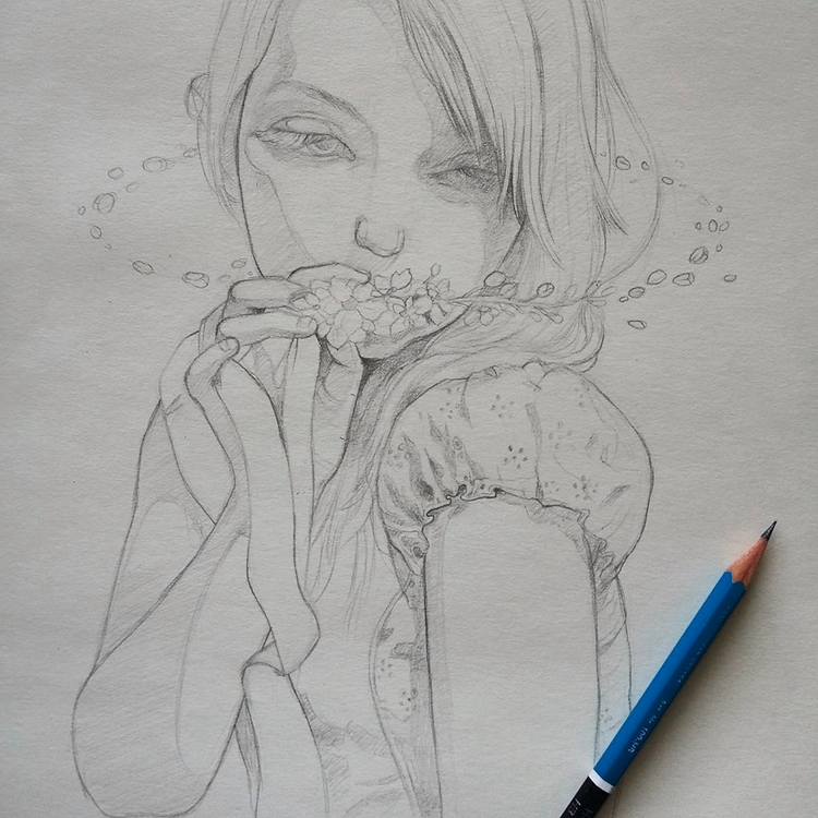 Sketching painting Delphinium s - ania_tomicka | ello