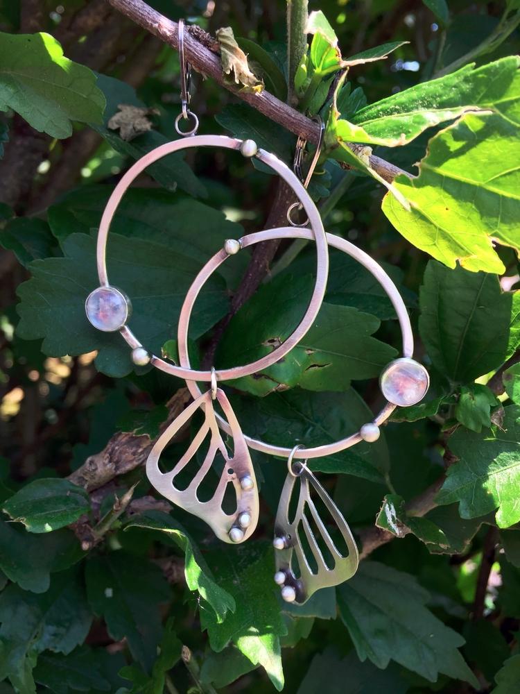 Butterfly Wing Hoop Earrings - violetvengeance | ello