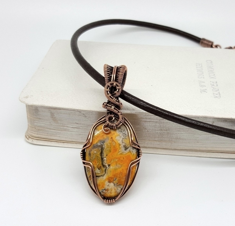 Bumble bee jasper wrapped coppe - jakdawgems | ello