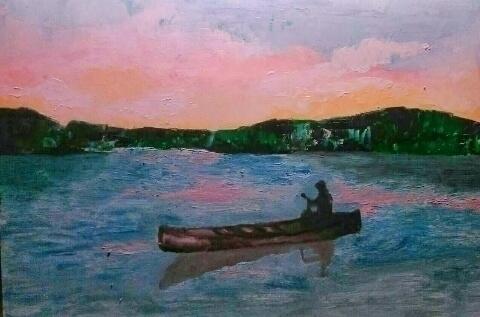 River ///// oil paper - canvas  - guiart | ello