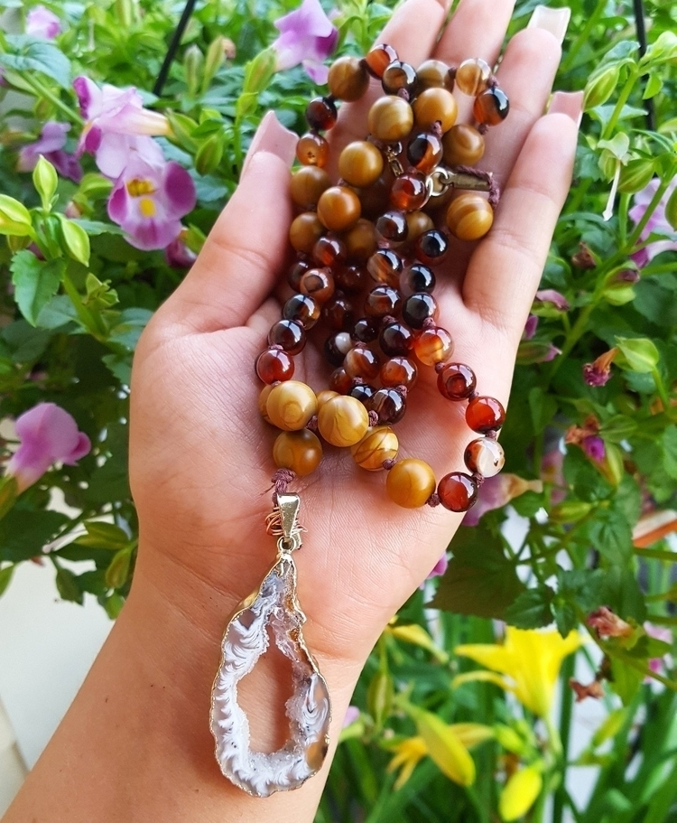 Laced Agate wooden beaded Mala - kays_kreationss | ello