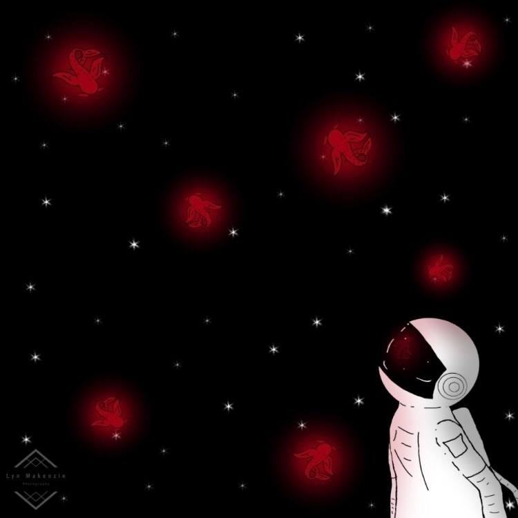 Lil space kois  - koi#fish#digital#drawing#art#red#black#space#galaxy#outerspace#astronaut - lynmakenzie | ello