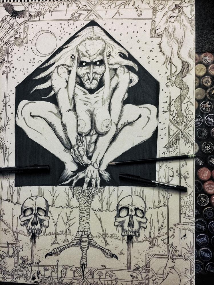 artbystone, babayaga, witch, folklore - _artbystone_ | ello