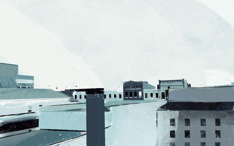Rooftops - painting, cityscape, rooftops - raffdesignstuff | ello