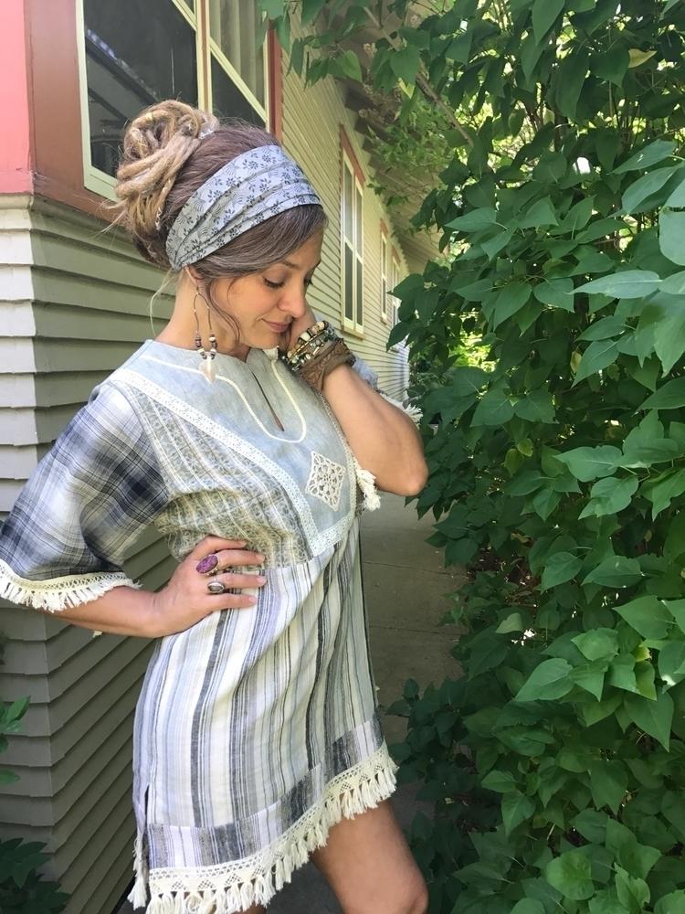 Hippy tunic, headband, recycled - zasra | ello