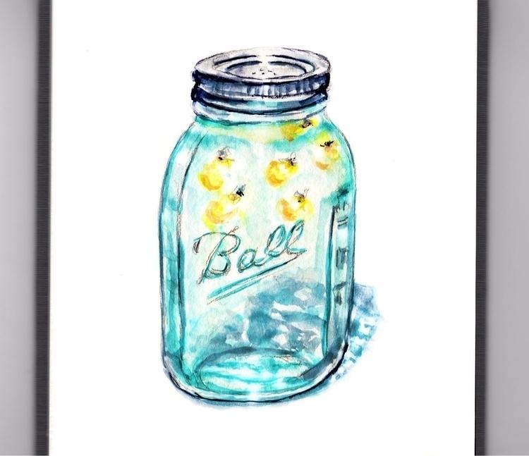 Lightning Bugs Jar - watercolor - doodlewash | ello
