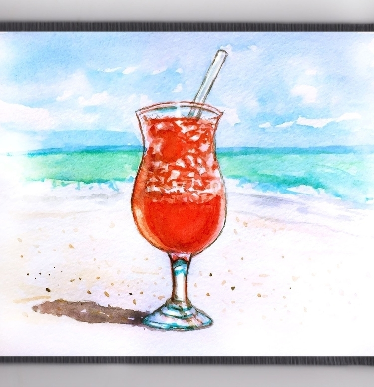 Drinks Beach - watercolor, watercolour - doodlewash | ello