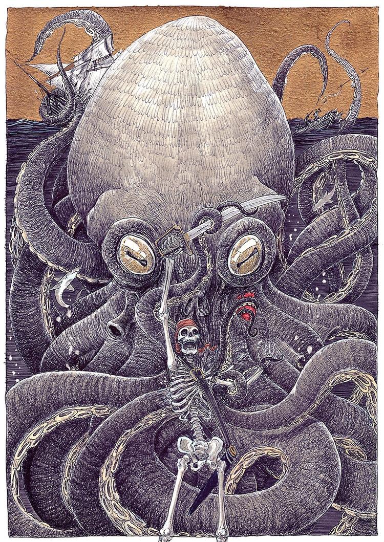 DEEP HEART - mrflama, kraken, ballpen - mrflama | ello