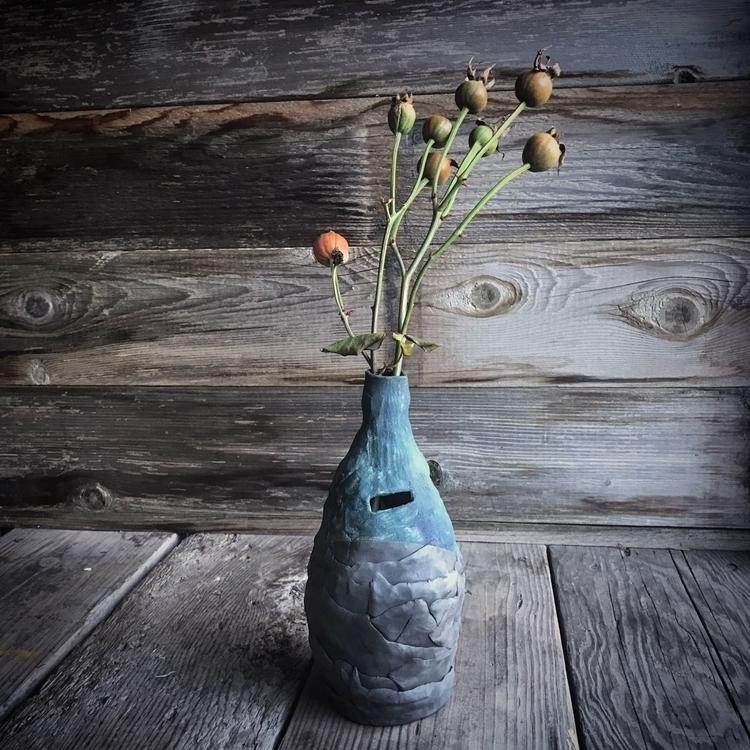 Hand built slab raku vase - ceramics - highyieldstudio | ello