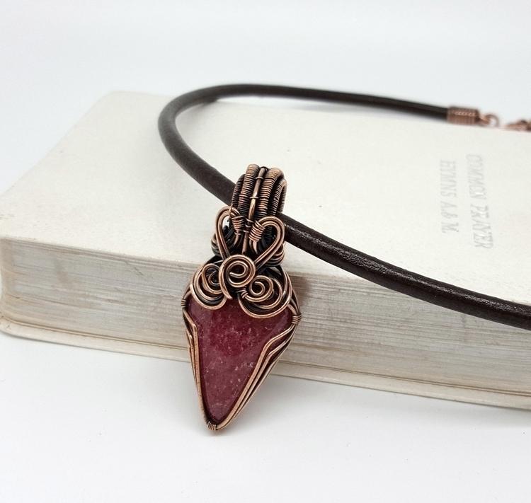 Rhodonite wrapped copper - love - jakdawgems | ello