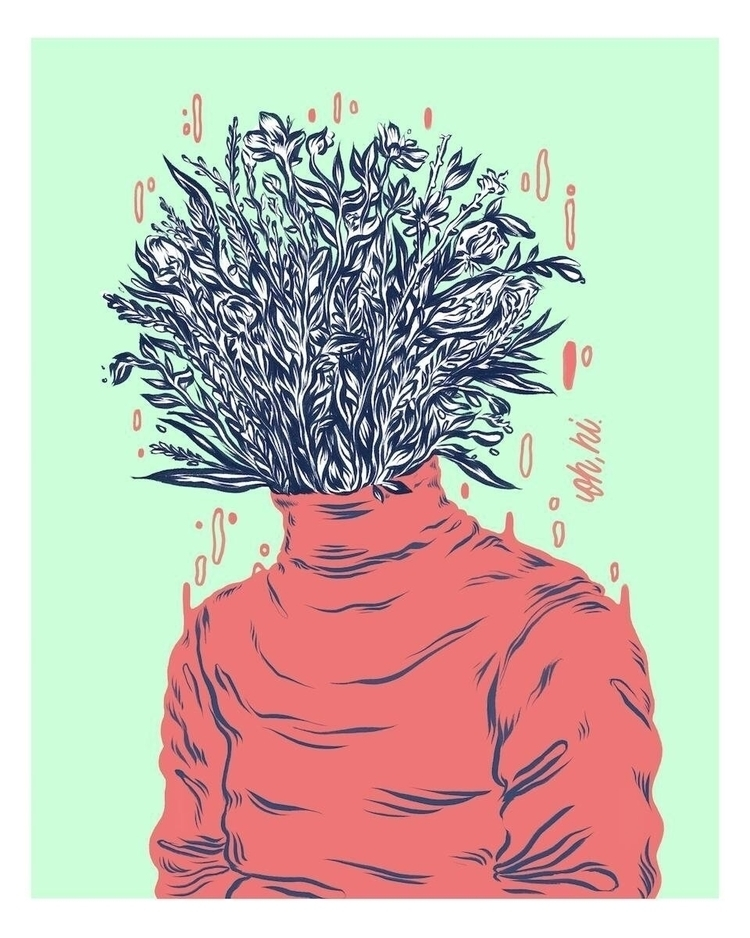 Turtleneck Flowerhead - illustration - dudeitsallama | ello
