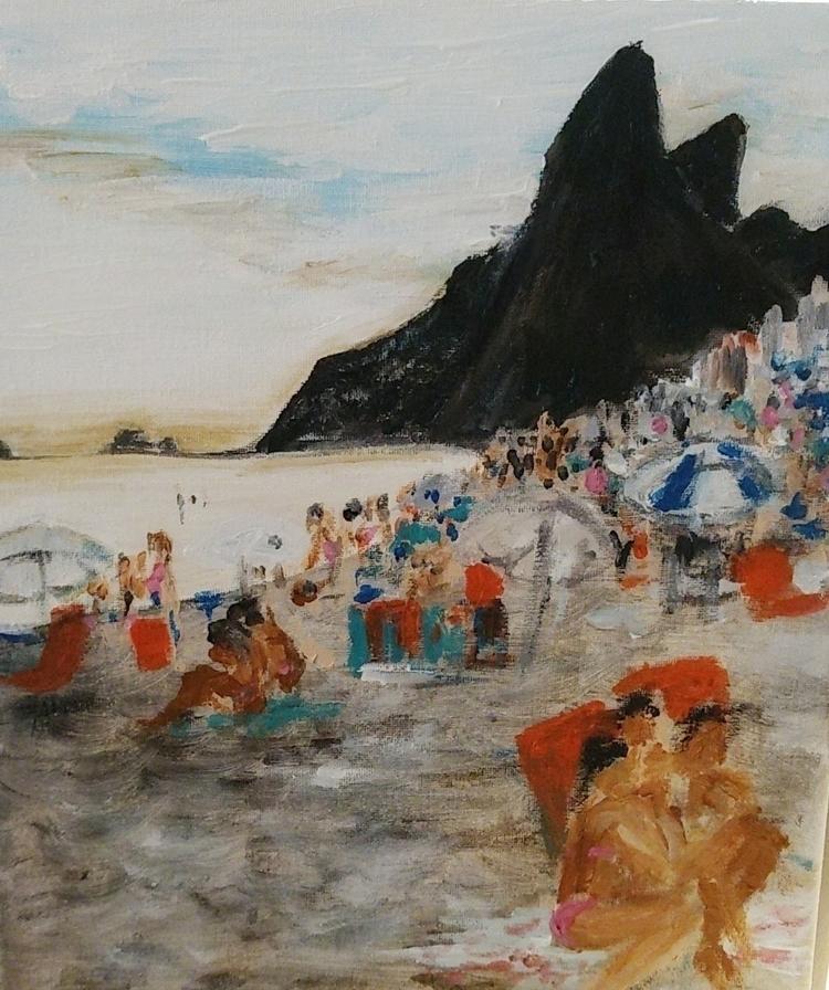 Ipanema acrylic 11x14 - brazil, impressionist - cococooks16 | ello
