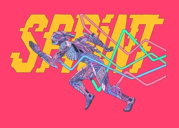 Sprint - illustration, sports, robot - jferreirastudio | ello