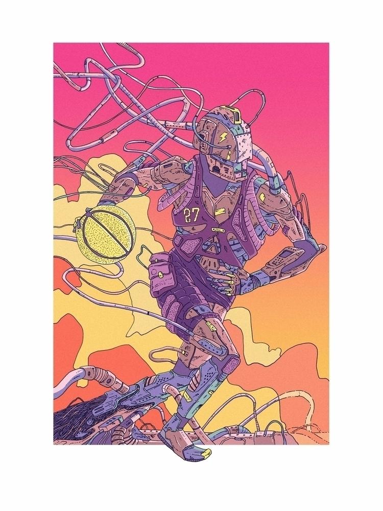Breakout - illustration, robot, basketball - jferreirastudio | ello