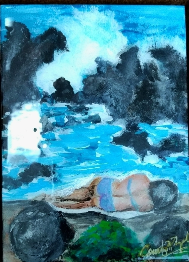 Acrylic painting woman repose H - cococollectionart | ello