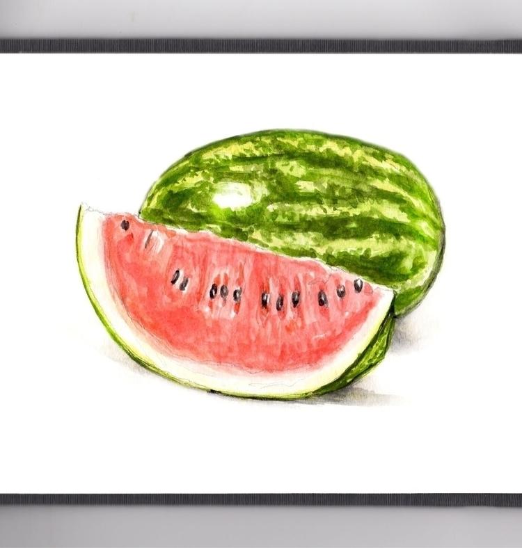 Spitting Watermelon Seeds - watercolor - doodlewash | ello