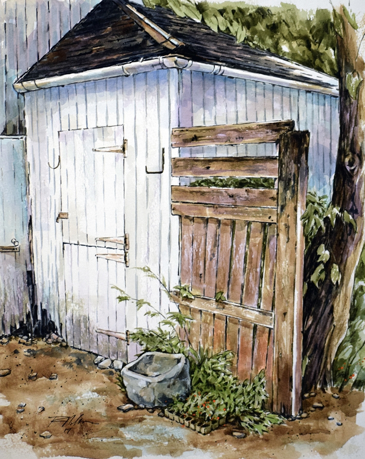 Strathardle Shed, Watercolor - rlnelsonmo | ello