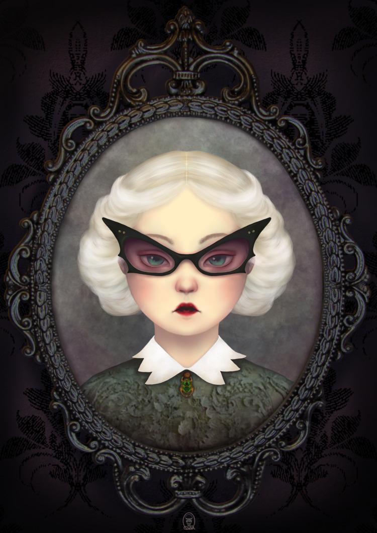Aunt Liza bat glasses - colors, krita - trillian5050   ello